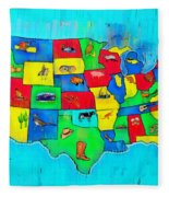 Us Map With Theme  - Free Style -  - Pa Fleece Blanket