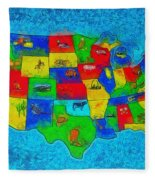 Us Map With Theme  - Special Finishing -  - Pa Fleece Blanket