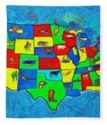 Us Map With Theme  - Van Gogh Style -  - Da Fleece Blanket