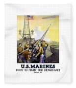 Us Marines -- First To Fight For Democracy Fleece Blanket