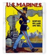 U.s. Marines - Service On Land And Sea Fleece Blanket