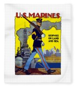 U.s. Marines - Service On Land And Sea Fleece Blanket