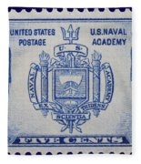 Us Naval Academy Postage Stamp Fleece Blanket