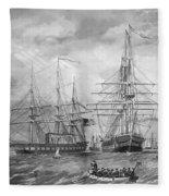 U.s. Naval Fleet During The Civil War Fleece Blanket