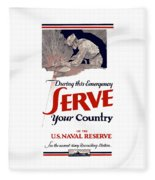 Us Naval Reserve Serve Your Country Fleece Blanket