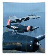 Us Navy Lagacy Flight  Fleece Blanket