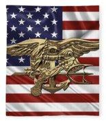 U.s. Navy Seals Trident Over U.s. Flag Fleece Blanket