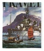 U.s. Navy Travel Poster Fleece Blanket