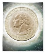 Us One Quarter Dollar Coin 25 Cents Fleece Blanket