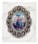 Us Presidents And Lady Liberty  Fleece Blanket