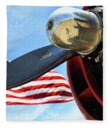 Usa Flag Bomber Wwii  Fleece Blanket