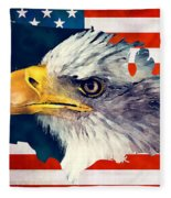 Usa Flag Eagle Fleece Blanket