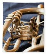 Used Old Trumpet, Closeup Fleece Blanket