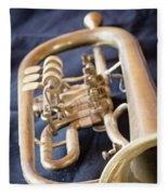 Used Old Trumpet. Vertically. Fleece Blanket
