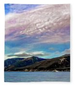 Ushuaia, Ar, Clouds Over Mountains Fleece Blanket