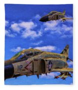 Usn F-4 Phantom II Over Vietnam - Oil Fleece Blanket
