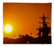 Uss Carl Vinson At Sunset 3 Fleece Blanket