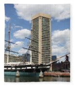 Uss Constellation - Baltimore Inner Harbor Fleece Blanket