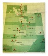 Utah Map Square Cities Straight Pin Vintage Fleece Blanket
