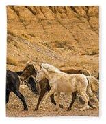 Ute Mountain Wild Horses On The Run Fleece Blanket