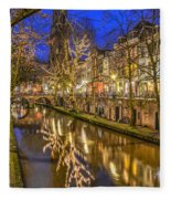 Utrecht Old Canal By Night Fleece Blanket
