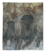 Uttc Buffalo Mural Right Panel Fleece Blanket