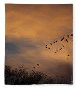 V Formation At Sunset  Fleece Blanket
