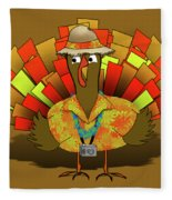 Vacation Turkey Illustration Fleece Blanket