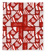 Valentine 4 Square Quilt Block Fleece Blanket
