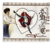 Valentines Day Card, 1909 Fleece Blanket