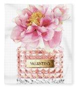 Valentino Pink With Peony Fleece Blanket
