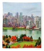 Vancouver After The Rain Fleece Blanket