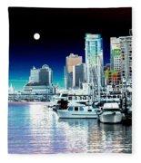 Vancouver Harbor Moonrise  Fleece Blanket