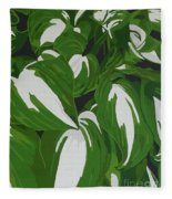 Variegated Hostas Fleece Blanket