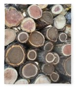 Various Firewood In The Round Fleece Blanket