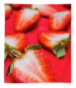 Various Sliced Strawberries Close Up Fleece Blanket