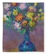 Vase Of Chrysanthemums Fleece Blanket