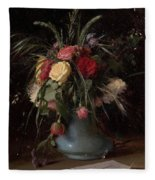 Vase Of Flowers And A Visiting Card Fleece Blanket