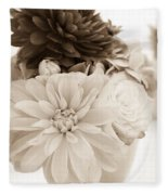Vase Of Flowers In Sepia Fleece Blanket