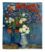 Vase With Cornflowers And Poppies Fleece Blanket