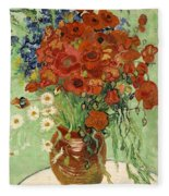 Vase With Daisies And Poppies Fleece Blanket