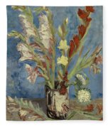 Vase With Gladioli And Chinese Asters Fleece Blanket