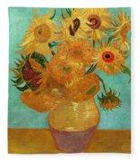 Vase With Twelve Sunflowers Fleece Blanket