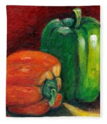 Vegetable Still Life Green And Orange Pepper Grace Venditti Montreal Art Fleece Blanket