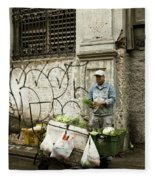 Vegetable Vendor Havana Cuba Fleece Blanket