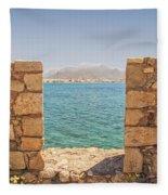 Veiw Of Lerapetra From Kales Fort Portrait Composition Fleece Blanket