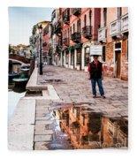 Venetian Baker, Reflection, Rain Puddle Fleece Blanket