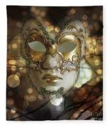 Venetian Golden Mask Fleece Blanket