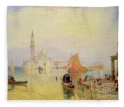Venetian Scene, 19th Century Fleece Blanket