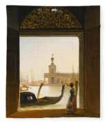 Venice A View Of The Dogana Seen Through A Large Doorway Fleece Blanket